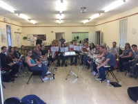 Saturday's rehearsal with the band in good spirits